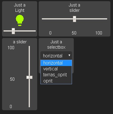 New widgets: input slider(horizontal and vertical), input select and